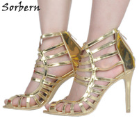 Sorbern Gold Gladiator Heels Sexy Platforms Open Toe Heels Custom Women Fashion Heels 2017 Women S