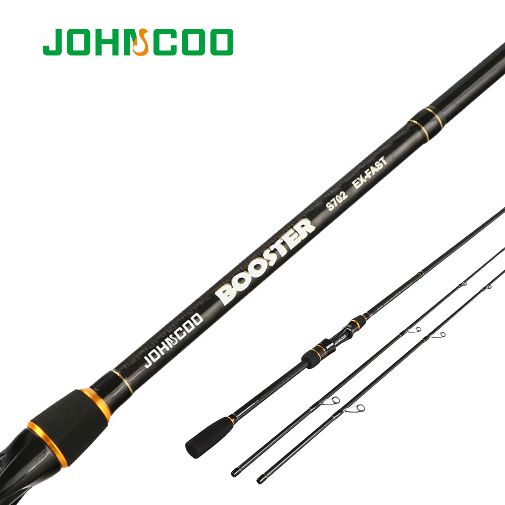 JOHNCOO Booster Spinning Fishing rod with 2 tips M/ML 5-28g Ex-fast action 2.1m 2.4m Spinning Fishing Cane and Baitcasting rod