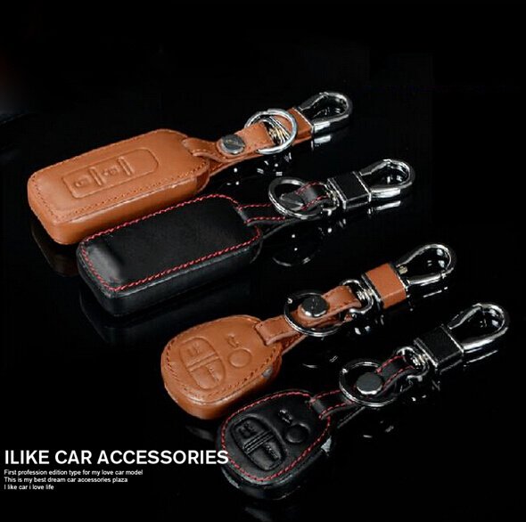 leather Remote Control Car Keychain key cover case MITSUBISHI OUTLANDER Lancer EX / Mitsubishi ASX - ILike Accessories store