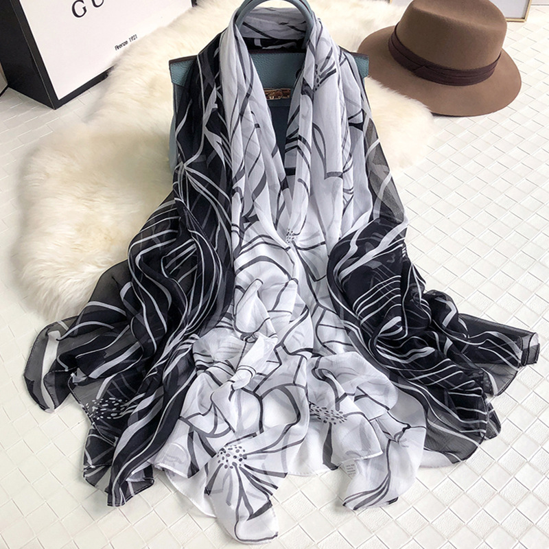 2019 Fashion Console Wrinkle Scarf Chiffon Spring New Stripe Printed Sunscreen Shawl Soft Summer Spray Long Scarf 140*170cm image