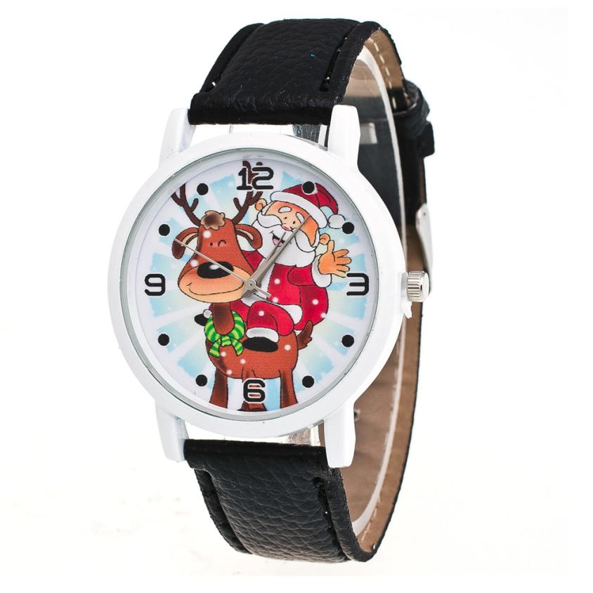 New Watch Women Christmas Pattern PU Leather Band Women Watches Analog Quartz Watch Clock Women Montre Femme Reloj Mujer