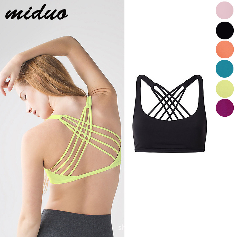 Women s Yoga Vest Support Strappy Back Energy Sport Bra Spandex Feel Candy Colors Crossback Sport