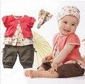 Детские девушки Комплект Одежды Лета Младенца 3 ШТ. Одежда Набор С Коротким Рукавом Футболки Брюки Установить Заставку Новая Мода Горячие продажа
