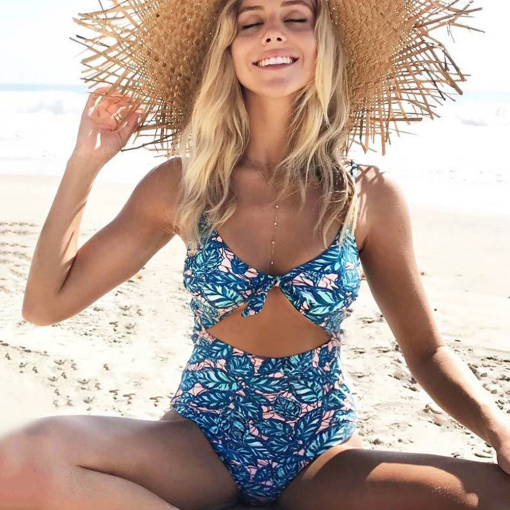 Knot Leaf Printing Sexy Bikini Set Slim Women Lady High Elasticity Swimsuit Beachwear Swimming Pool For Party Vocation Free Ship