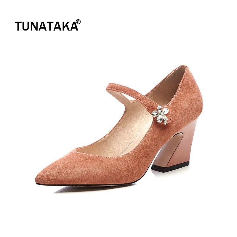 Suede Hoof High Heel Woman Mary Jane Shoes Fashion Pointed Toe Dress High Heel Shoes Woman Black Khaki Orange