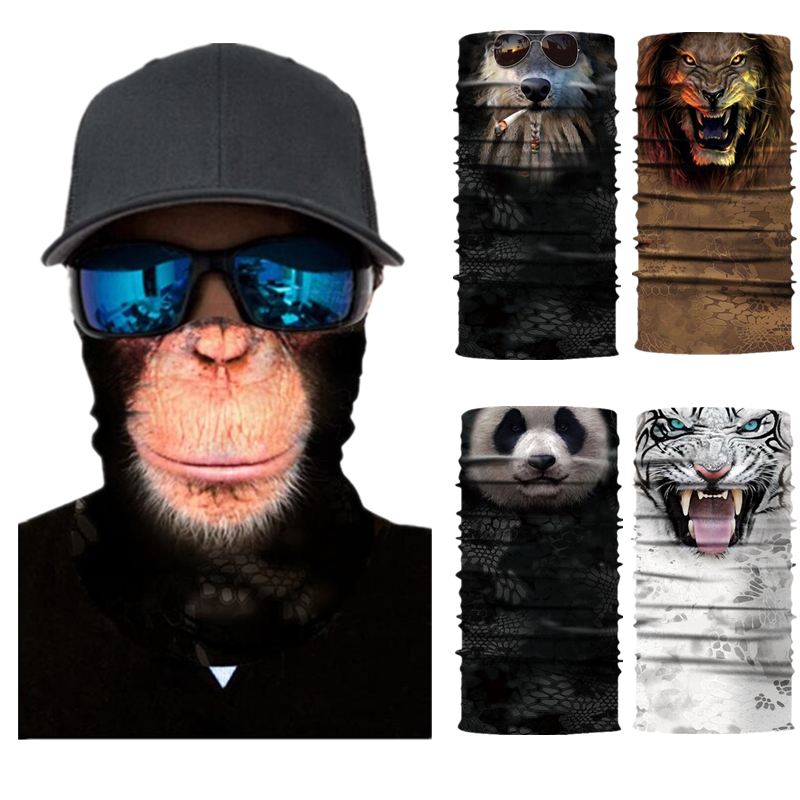 Animals Lions Tigers Orangutans Pandas Wolf Motorcycle Cycling Neck Scarf Half Face Mask Bandana Headband Cosplay Adult Masks