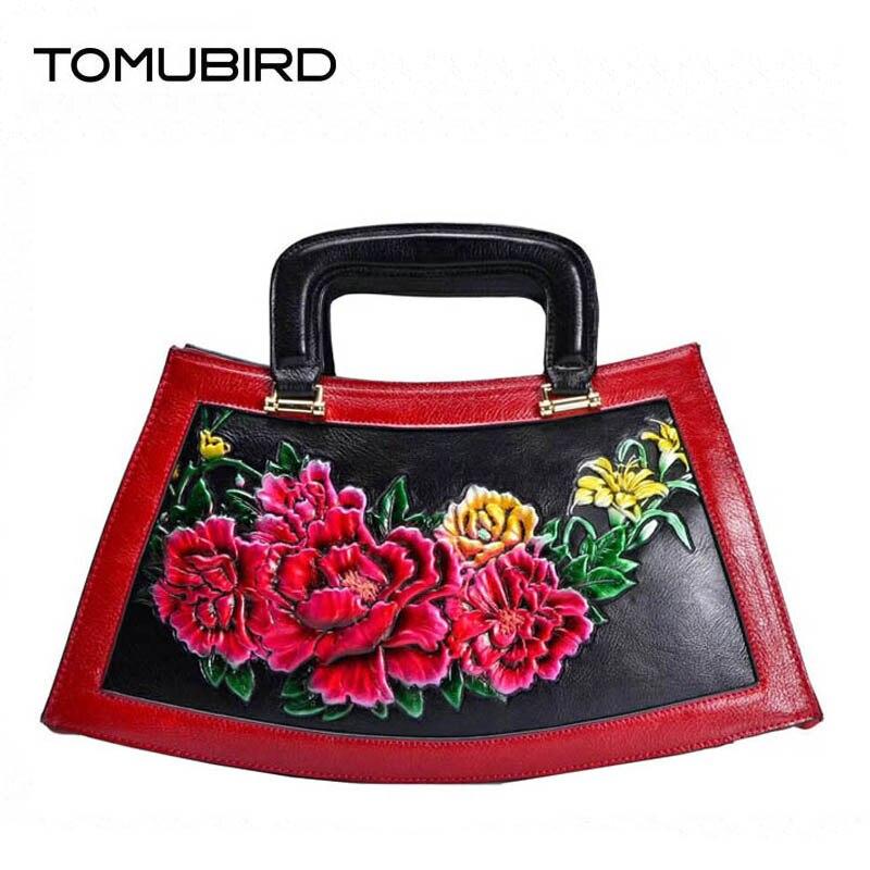 2018 New Superior genuine leather bag luxury real leather Handmade rose embossed bags designer tote women leather Art handbags