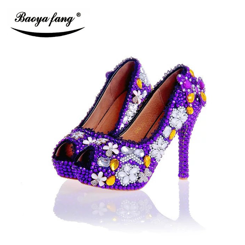 New arrival Purple rhinestone women Wedding shoes Bride fashion platform shoes 12cm high heels shoes plus size 43 fish toe sweatshirt ruck
