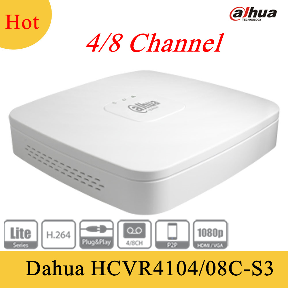 Original Dahua 4ch 8ch Tribrid 720P Smart 1U Digital Video Recorder HCVR4104C-S3 HCVR4108C-S3 Support  HDCVI and 1 SATA HDD аксессуар proconnect bnc 05 3072 4 9 3 штуки