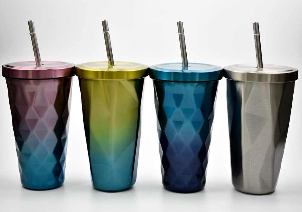 Creative Thermo Cup Vacuum Flasks With Straw Gradient