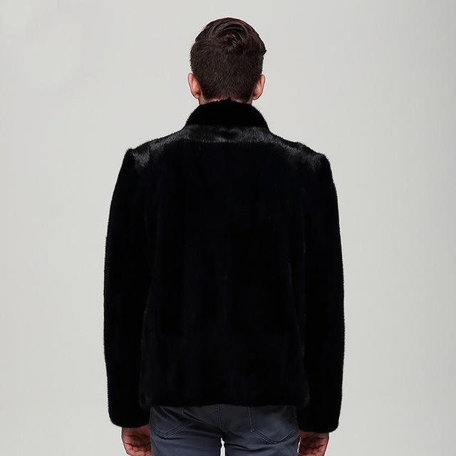 2017 Stand collar Men Hooded  Spring Mens Mink Female mink grass Coat Youth Motorcycle Biker Men's real Fur Coats Brand