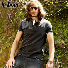V JEAN Men's Fashion Cotton Polo Shirt Short Sleeve with Applique