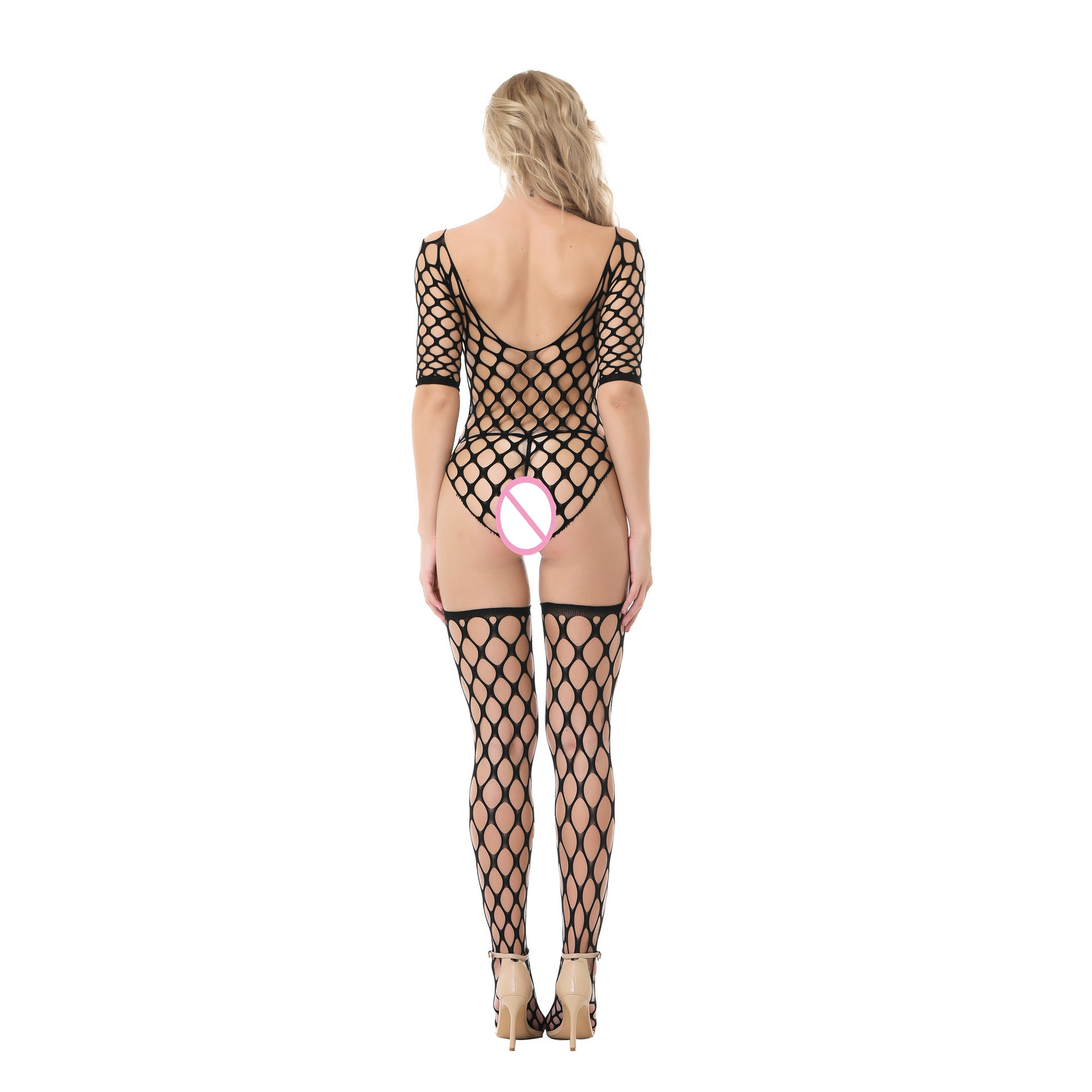 Women Hot Sexy Lingerie Big Mesh Fishnet Body Stocking Hollow Out Sexy Underwear Open Crotch Sexy Costume Erotic Dress Lenceria