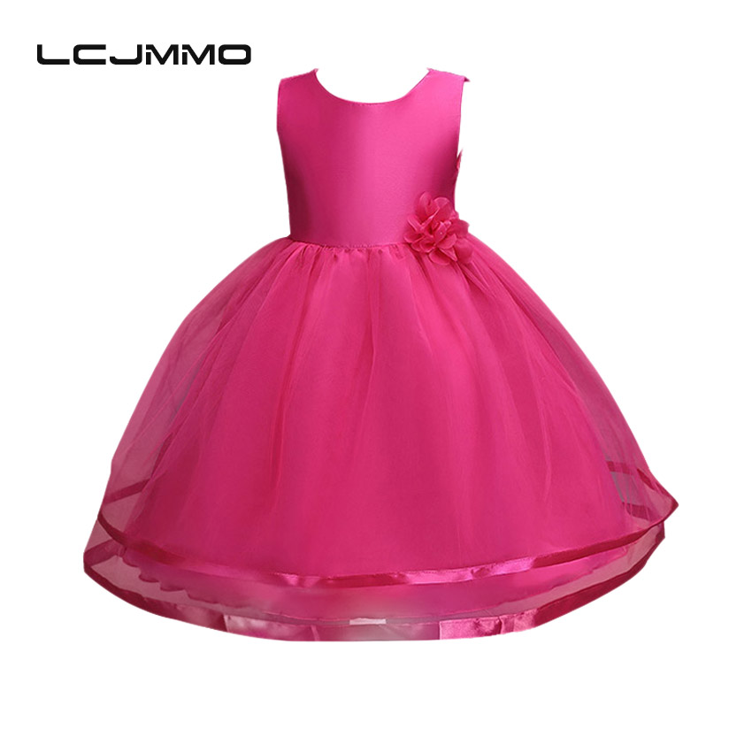 LCJMMO  Flower Summer Girl Dresses For Weddings Party Princess White TuTu Kids Dress 2017 Soild Baby Girl Clothes Vestido 3-12Y girl dress 2 7y baby girl clothes summer cotton flower tutu princess kids dresses for girls vestido infantil kid clothes