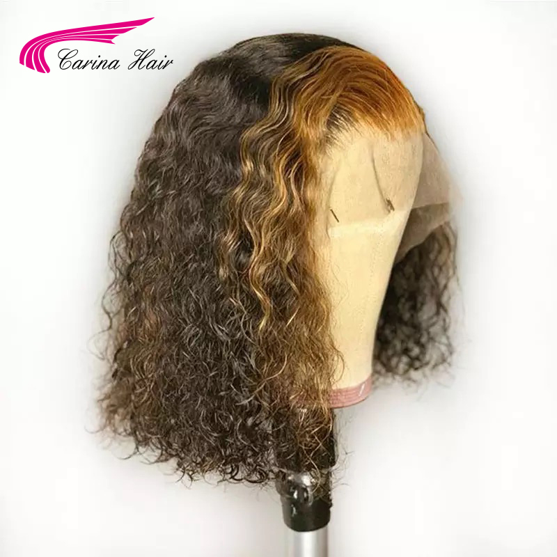Image 2 - Carina Ombre lace Front Human Hiar Wigs With Baby Hair wavy Remy Hair Brazilian Lace Front Wigs 130 Density With Highlight-in Lace Front Wigs from Hair Extensions & Wigs