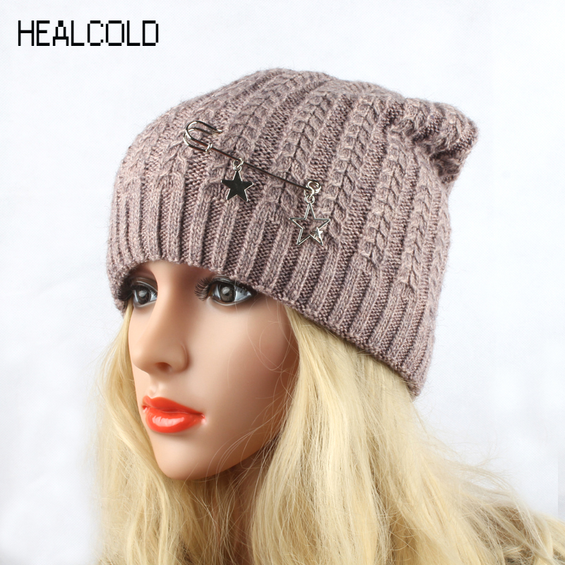 HEALCOLD 2018 New Fashion Knitted Hat Women's Winter Wool Cap Wanita Beanies Skullies
