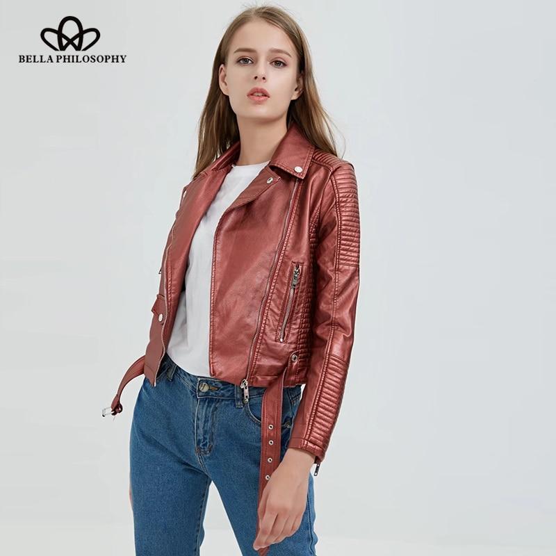 Bella Philosophy 2018 Autumn Winter Coat Women Geometry Zipper Sashes   Jacket   Female Long Sleeves Outwear Pocket   Basic     Jacket