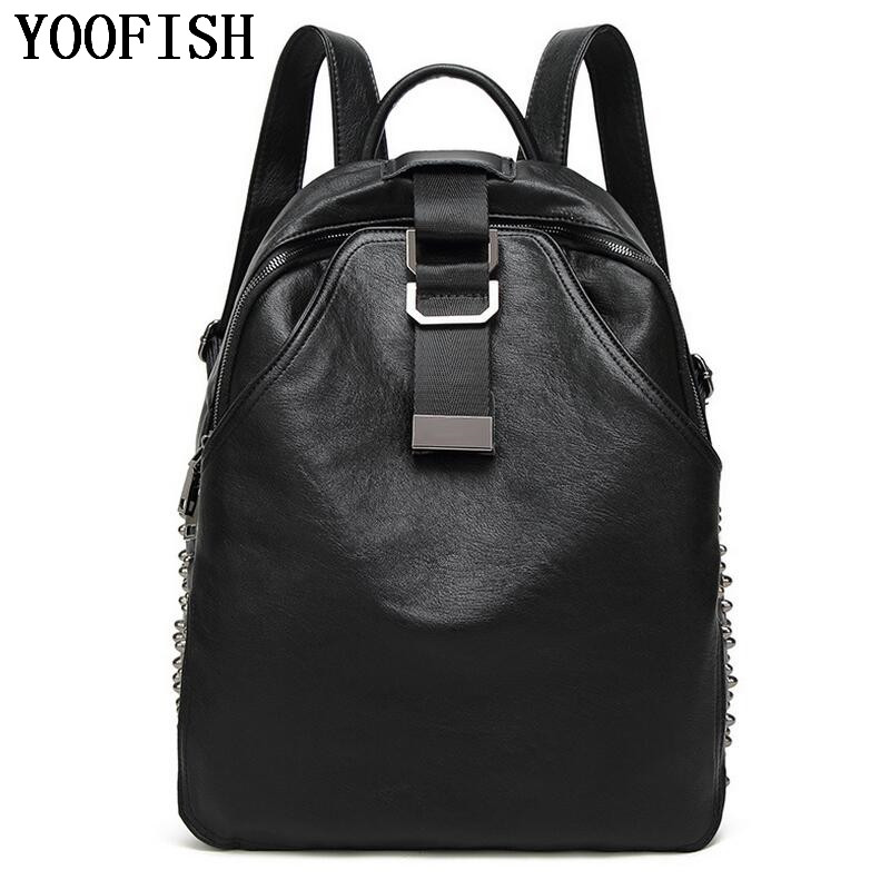 Fashion Women Backpack Bag High Quality Soft Genuine Leather Backpacks for Teenage Girls Female School Shoulder Bag Bagpack