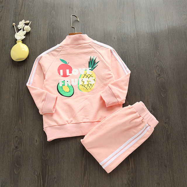 Anlencool Girls Clothing Sets  New Autumn Long Sleeve Letter Fruit Print Jackets+Casual Pants 2Pcs for Kids Clothing Sets