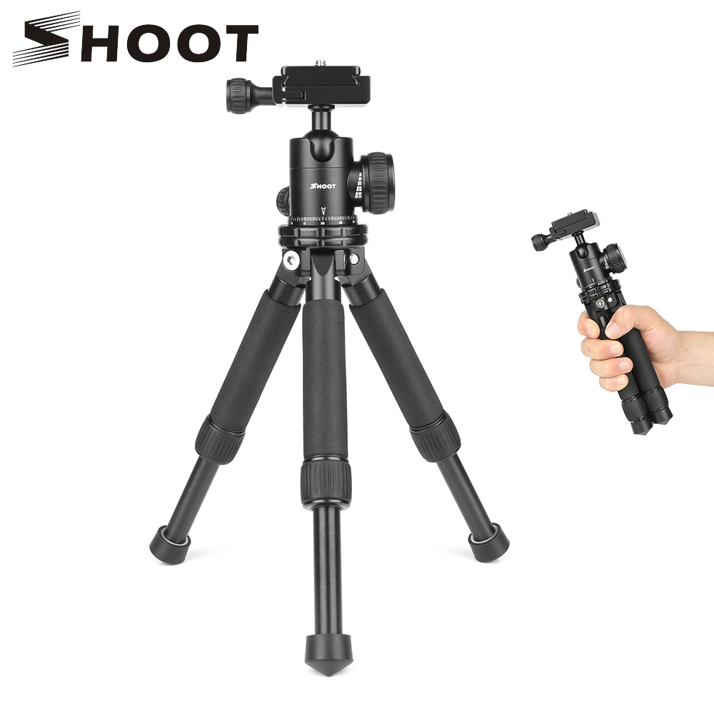 SHOOT Lightweight Mini Camera Tripod Tabletop Desktop Tripod for GoPro Canon Nikon Sony DSLR Camera With Ball Head Accessories