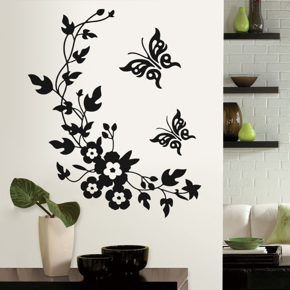 buy removable vinyl 3d wall sticker mural decal art flowers and vine butterfly. Black Bedroom Furniture Sets. Home Design Ideas