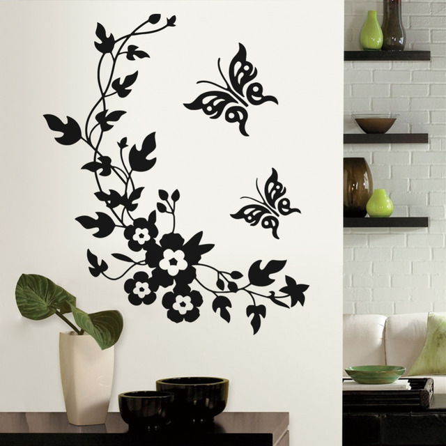 Removable Vinyl 3d Wall Sticker Mural Decal Art   Flowers And Vine  Butterfly Wall Poster Toilet
