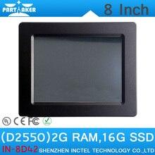 """2 Г ОЗУ 16 Г SSD OEM Intel Atom D2550 8 """"все В Одном Мини-Промышленной PC Сенсорный Экран Встроенный Tablet PC"""