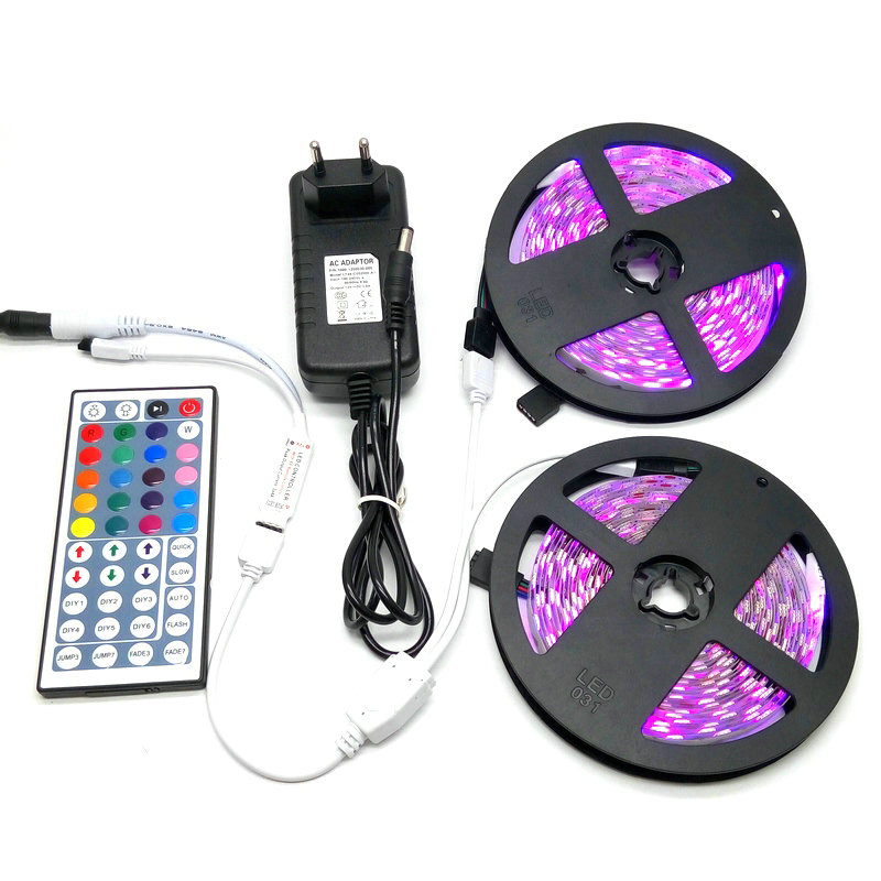 10M SMD 5050 RGB LED Strip Set 60LED/M Flexible Tape Home Decoration Lighting 44Keys IR Controller 12V 3A Power Supply Adapter