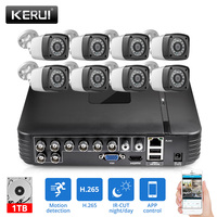 KERUI AHD Home Security Camera System 8CH DVR Kits Audio Record With 8pcs 4MP Camera HDMI CCTV Video Surveillance System Set