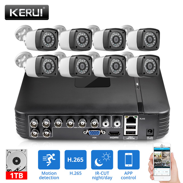 KERUI Outdoor AHD Home Security Camera System 8CH DVR Kits WIth 8pcs 1520P 4MP Camera HDMI CCTV Video Surveillance System Kit