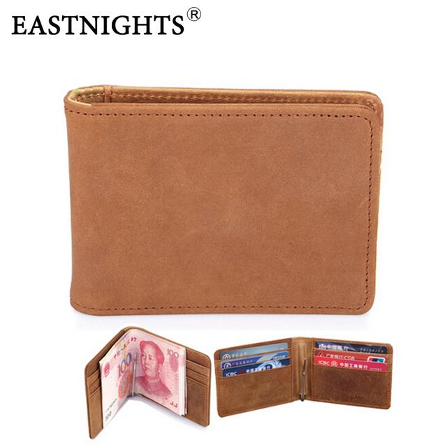 Eastnights envío gratis crazy horse hombres de cuero titular de clip de dinero billetera famosa marca de diseño de alta calidad-precio estilo corto