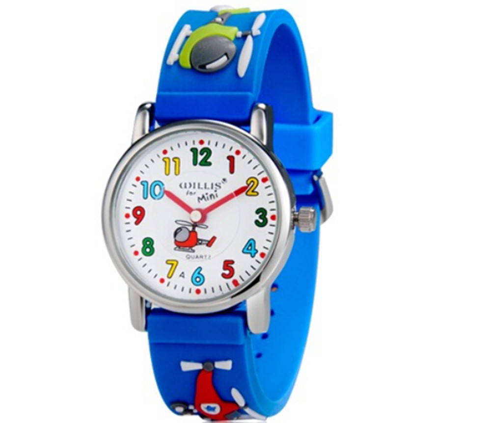 Little Boys Children Wrist Kids Watches, Cartoon Helicopter 3D Band-Blue north little boys girls children wrist kids watches cartoon 3d dolphin design analog band 30m waterproof blue