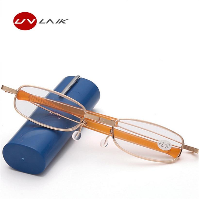 3d6881d8cc3b0 UVLAIK óculos de Armação de Metal Óculos de Leitura Dobrável Com Estojo  Portátil Caneta Titular Hipermetropia