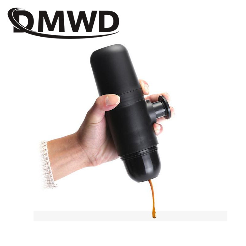 DMWD Mini Portable Black coffee machine Compact Manual Espresso Maker Hand Pressure Outrdoor travelling Italian coffee cup Pot household fully automatic coffee maker cup portable mini burr coffee makers cup usb rechargeable capsule coffee machine