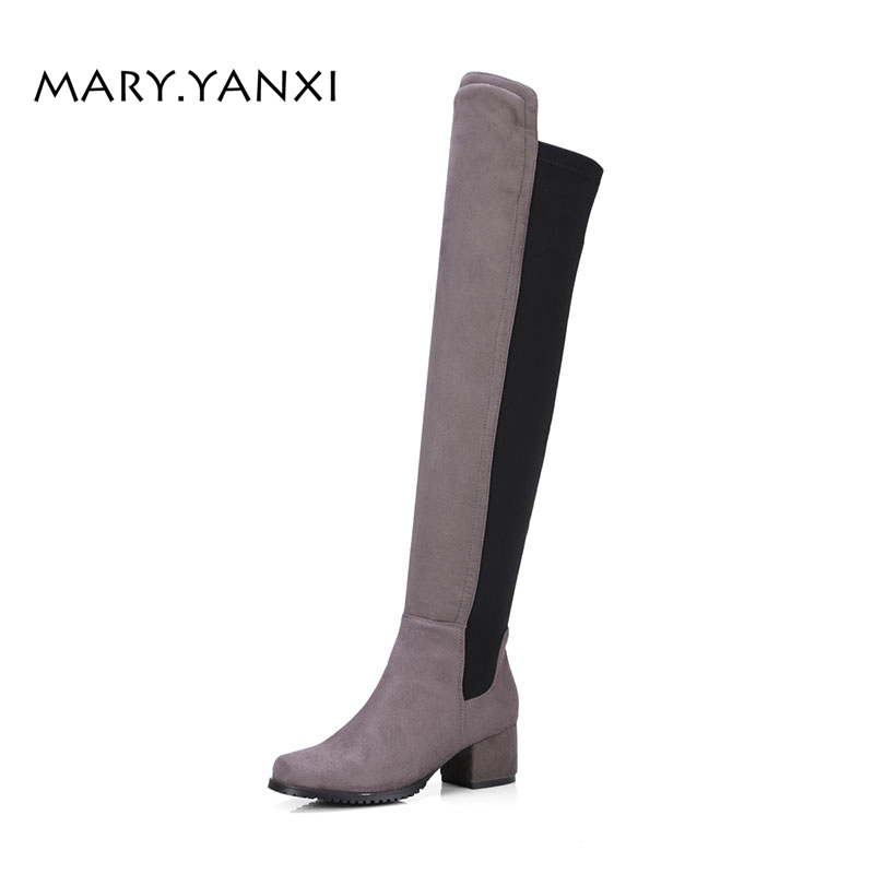 Women Big Size Shoes Long Boots Knee-High Boots Rome Flock Nubuck Slip-on Round Toe High Square Heels Big Size Lycra Solid enmayer green vintage knight boots for women new big size round toe flock knee high boots square heel fashion winter motorcycle