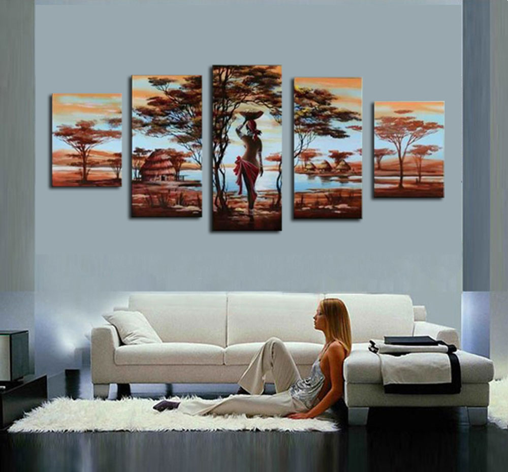 Tree Oil Painting 5pcs On Canvas High Quality Nude Women Africa Country Modern Wall Picture For
