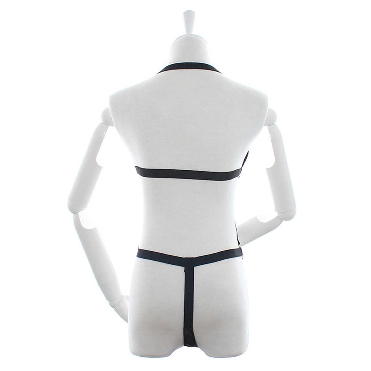 Sexy Bondage bielizna klatka biustonosz rajstopy trzy punkt Bikini body bielizna stringi błyszczący szelki pas BDSM kostium Cosplay