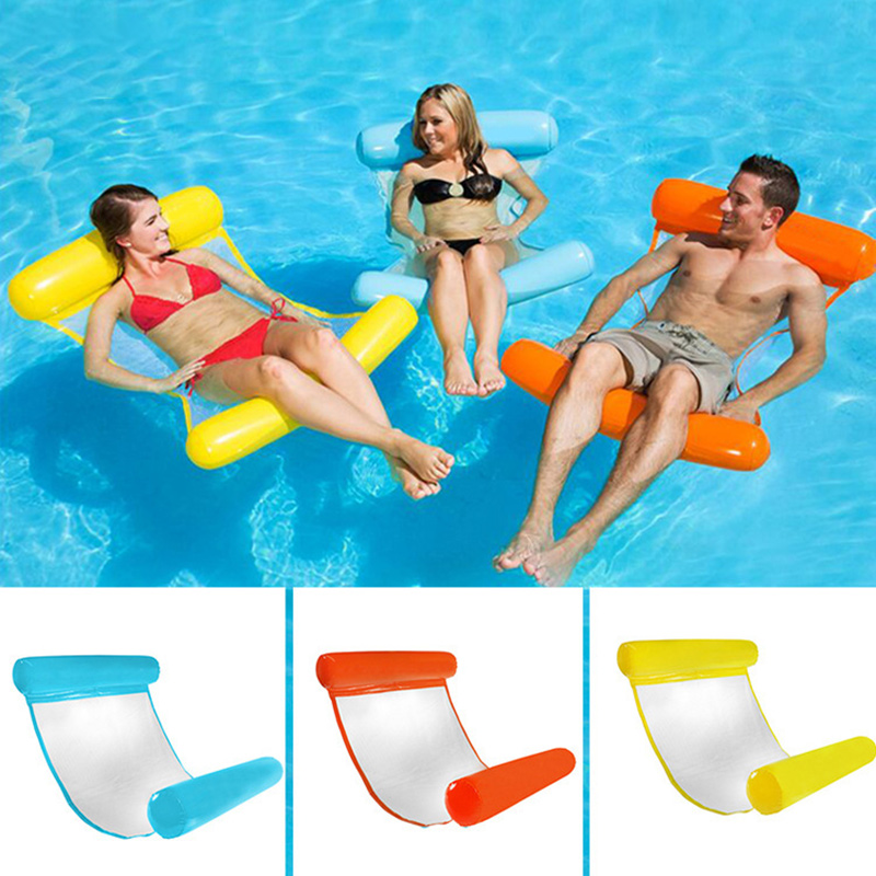Water Hammock Inflatable Pool Float Bed 120cmx70cm Lounge Chair Float Beach Swimming Hammock Lounge Bed Kids Adults Ring