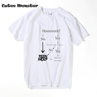 Letter Printed T Shirt Men S Cotton American TV Series Teen Wolf T Shirt Grey White