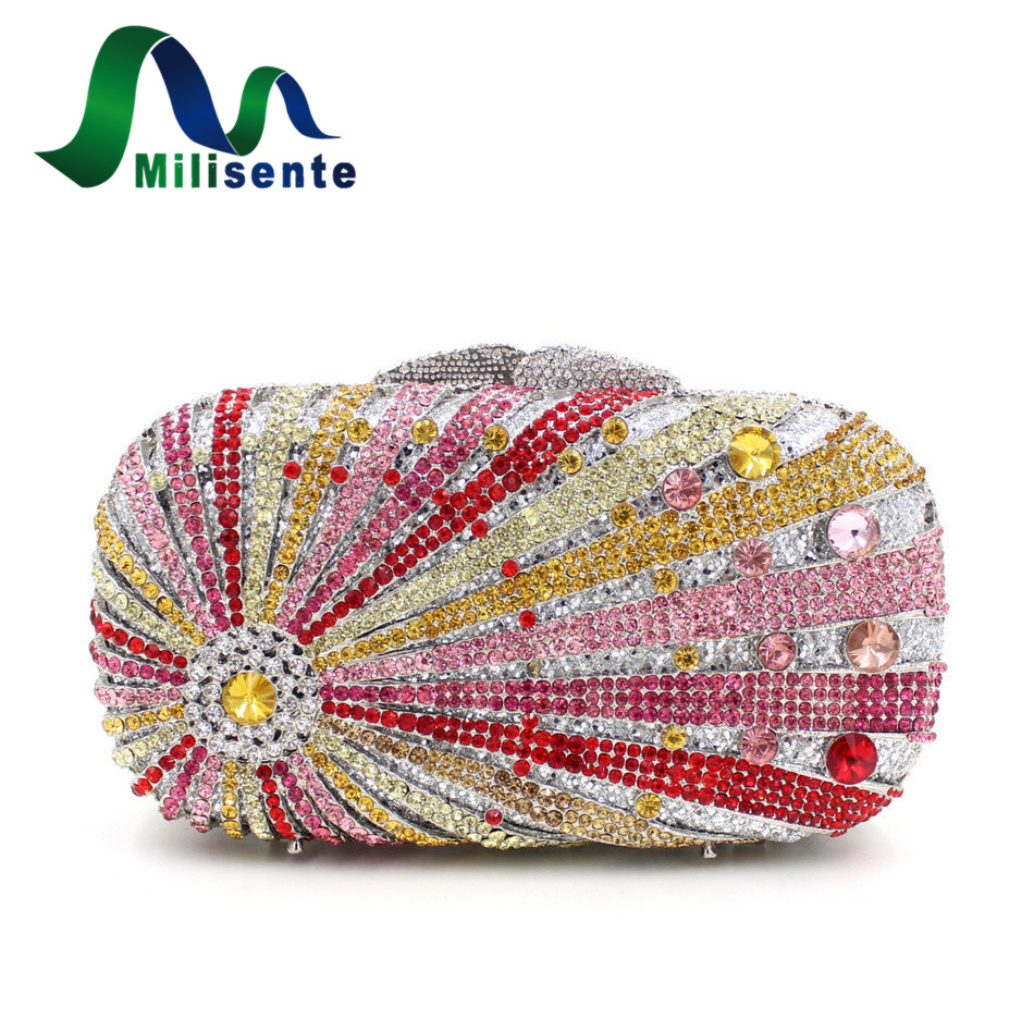 Bohemian Crystal Clutch Diamonds Evening Bag With Chain Girls Party Handbags Wedding Purses Pink Silver Blue Gold White bohemian style shells forehead chain