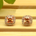 Vintage CZ Diamond Crystals Square Earrings  Gold Plated yellow Crystals Stud Earring for Women Wedding Party Jewelry 993