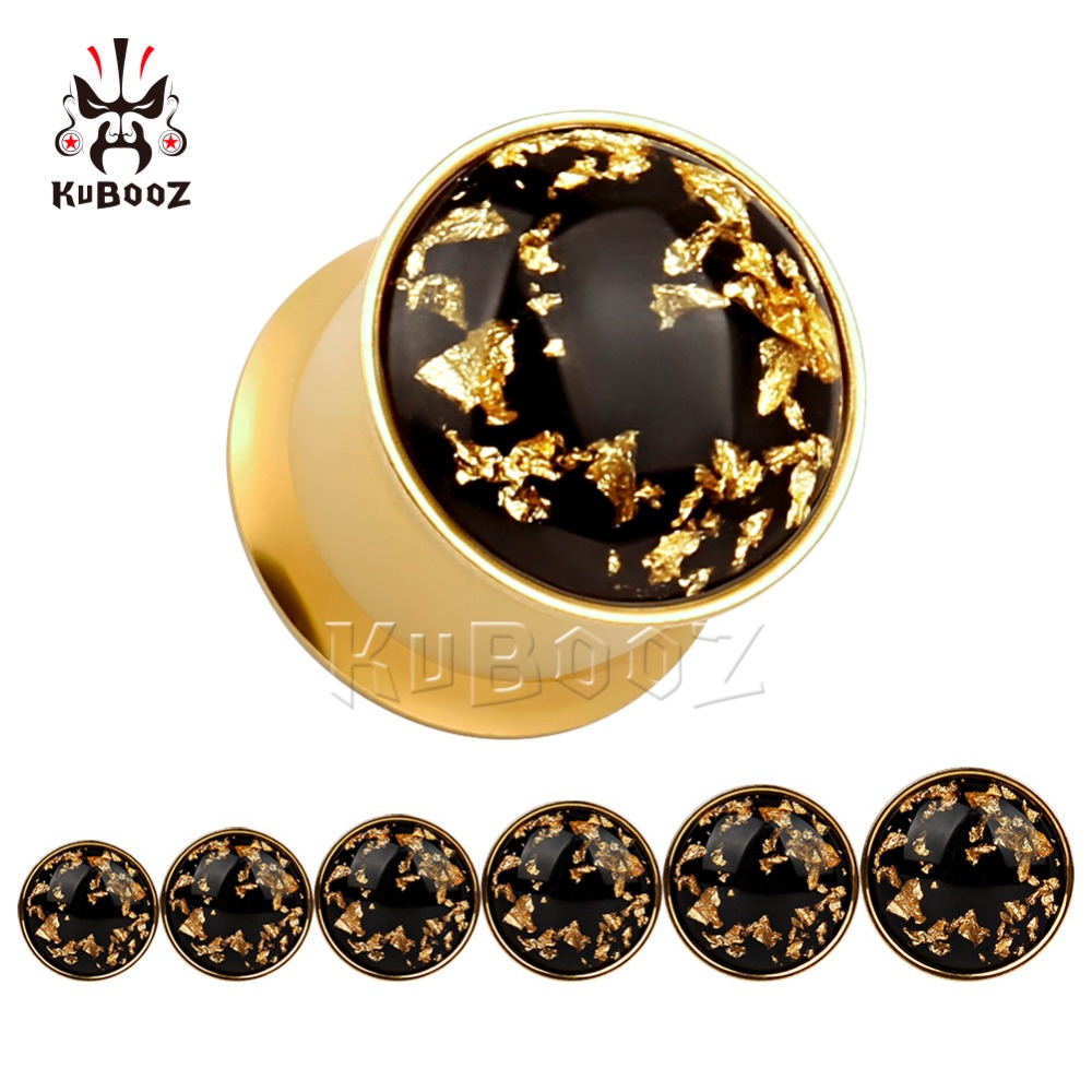 KUBOOZ Ear Piercing Jewelry Plug Tunnel Stainless Steel Double Flared Gold Gauges Stretcher Body Jewelry Earrings Gift 20PCS in Body Jewelry from Jewelry Accessories