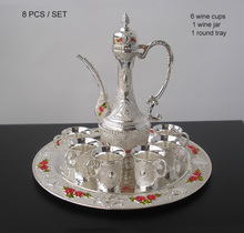 8 PCS/set alloy metal silver white wine set kitchen dining bar 6 wine cups 1 jar 1 tray embossed moonshine carved 319A