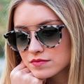 Women Luxury Brand Sunglasses Double Bridge Round Sunglasses Women 2016 Vintage Driving Sun Glasses Cateye Sunglases Zonnebril