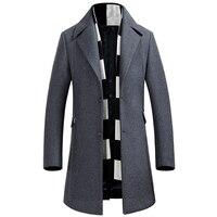 Для мужчин утолщение теплый Однобортный шерсть Тренчи для женщин зимнее пальто Slim Fit длинная куртка Темно-синие серый пальто Для мужчин S ка...