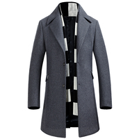 Men Thickening Warm Single Breasted Wool Trench Winter Coat Slim Fit Long Jacket Navy Blue Gray