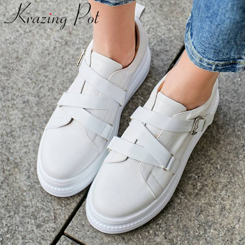 2019 Concise Style Cowboy Sneakers Round Toe Genuine Leather Covered Buckle Strap Thick Med Bottom Daily Vulcanized Shoes L18