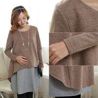 3052 3XL 4XL Elegant Plaid Cotton Maternity Dress Autumn Winter Fashion Patchwork Clothes For Pregnant Women