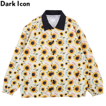 Dark Icon Sunflower Boy Windbreak Jacket Men Outwear Street Mens Jackets Hip Hop for Yellow