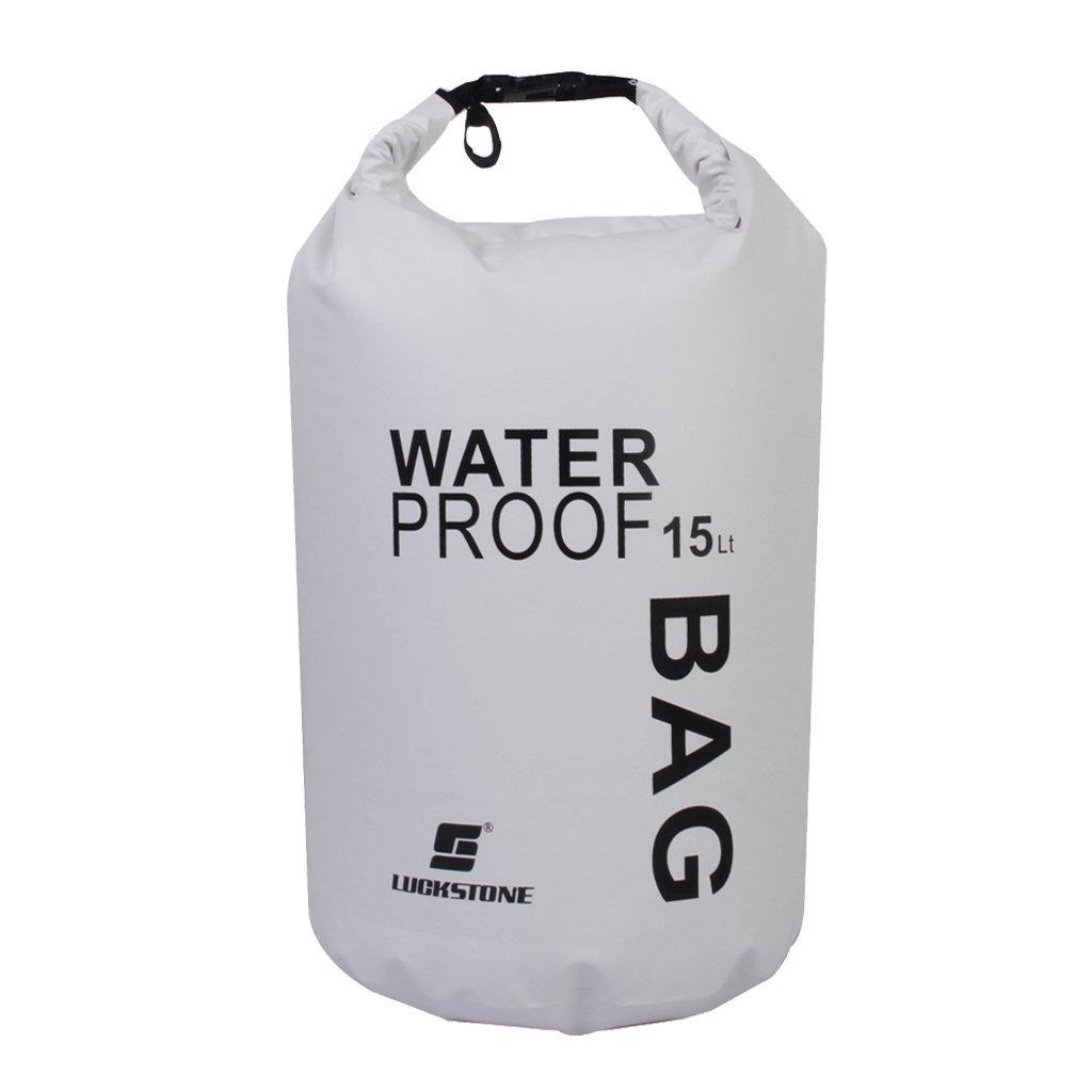 LUCKSTONE Waterproof Bag Pouch for Camping Kayak Fishing Rafting Canoe-kayak 15L White